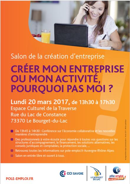 Portage Salarial - Baya Consulting sera présent sur le salon de la création d'entreprise organisé par Pôle Emploi Aix les Bains et Chambéry le 20 mars de 13h30 à 17h30