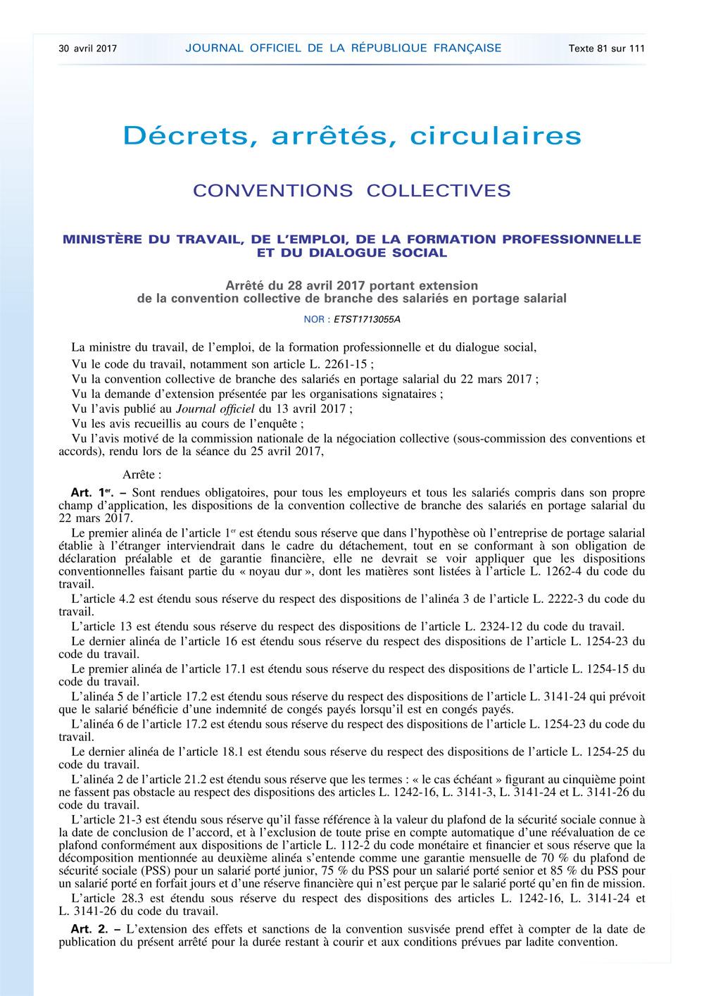 Arrêté du 28 avril 2017 portant extension de la convention collective de branche des salariés en portage salarial